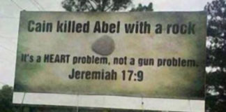 Cain killed Abel with a rock billboard