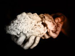 evangelism beggar showing bread