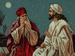 Jesus with Nicodemus on being born again