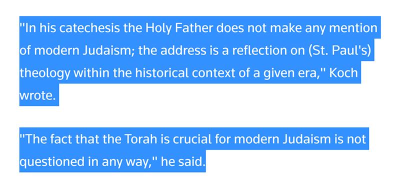 pope torah crucial