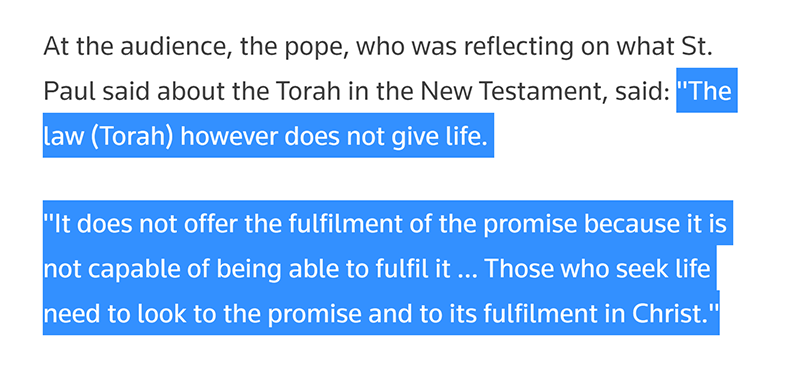 pope torah does not give life